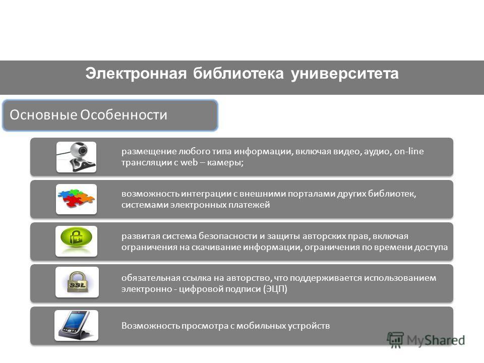 Электронная библиотека университета Основные Особенности размещение любого типа информации, включая видео, аудио, on-line трансляции с web – камеры; возможность интеграции с внешними порталами других библиотек, системами электронных платежей развитая