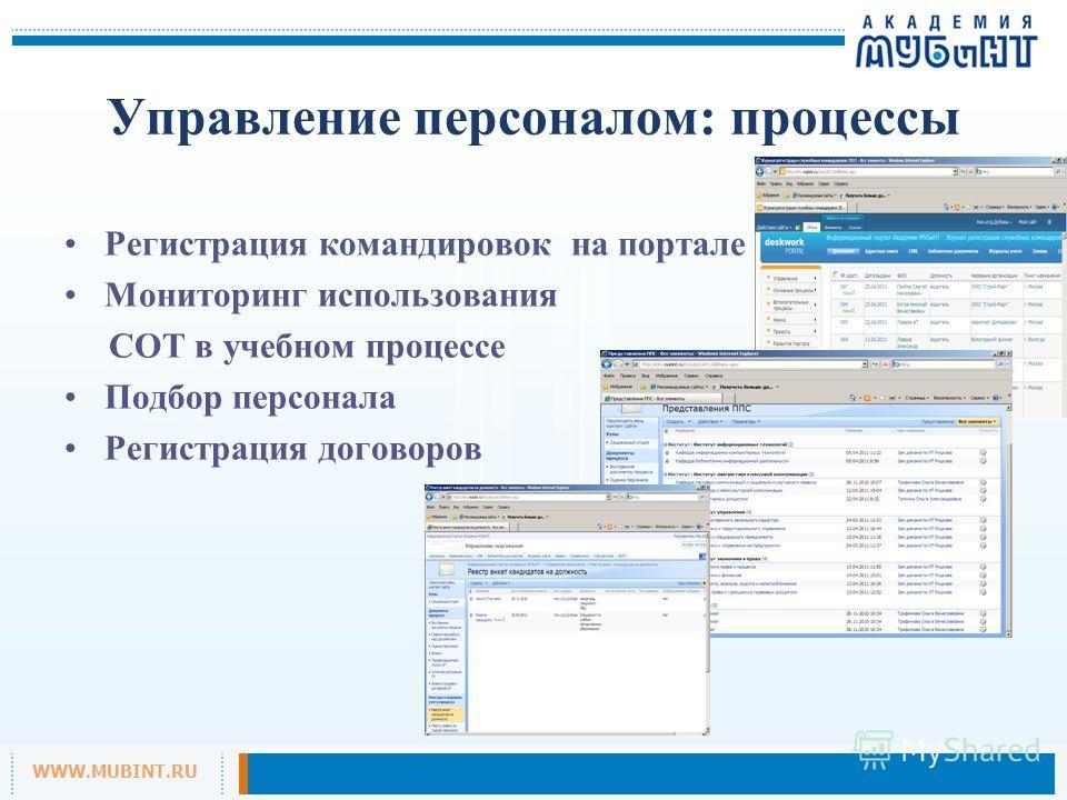 WWW.MUBINT.RU Управление персоналом: процессы Регистрация командировок на портале Мониторинг использования СОТ в учебном процессе Подбор персонала Регистрация договоров