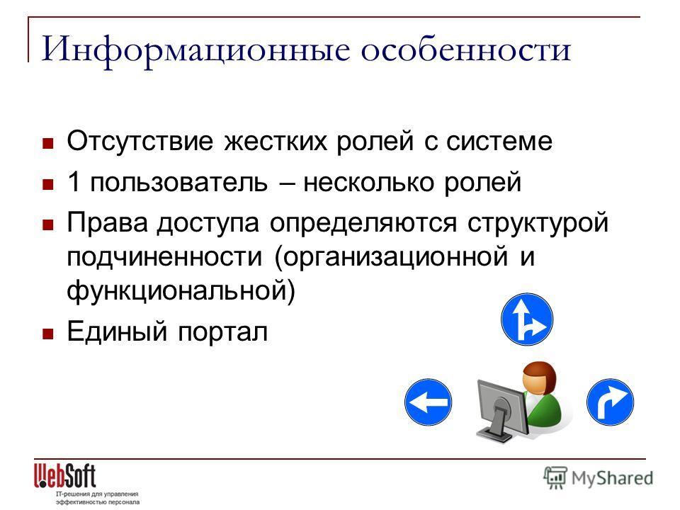 Информационные особенности Отсутствие жестких ролей с системе 1 пользователь – несколько ролей Права доступа определяются структурой подчиненности (организационной и функциональной) Единый портал