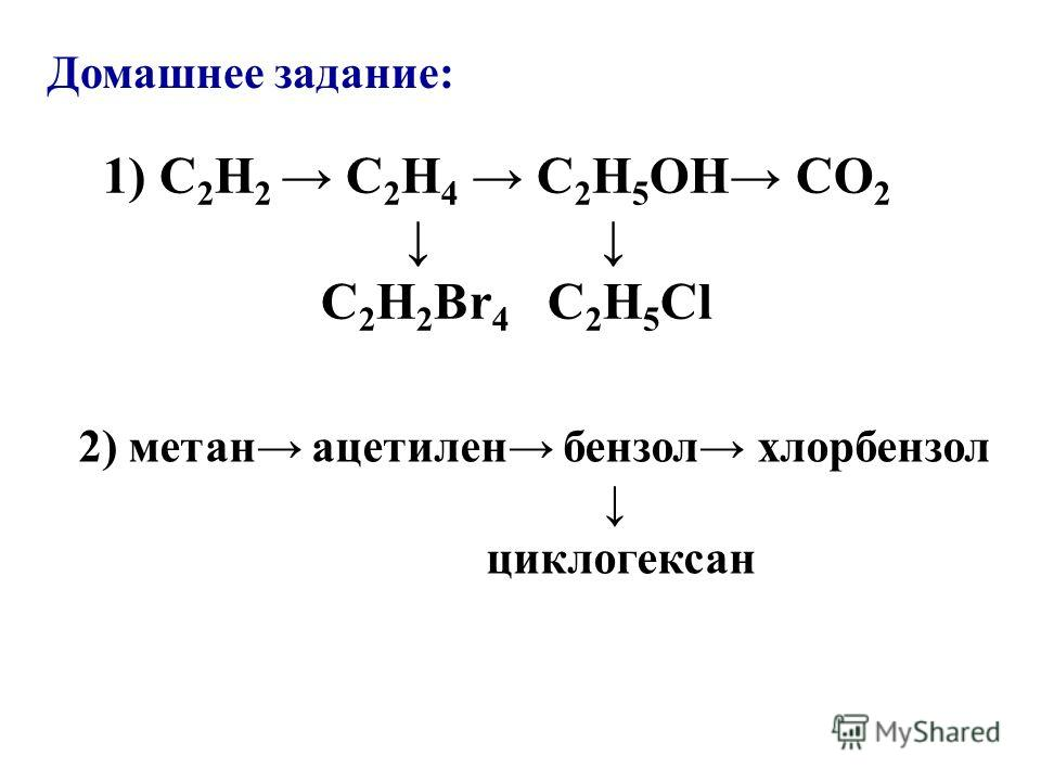 Домашнее задание: 1) C 2 H 2 C 2 H 4 C 2 H 5 OH CO 2 C 2 H 2 Br 4 C 2 H 5 Cl 2) метан ацетилен бензол хлорбензол циклогексан
