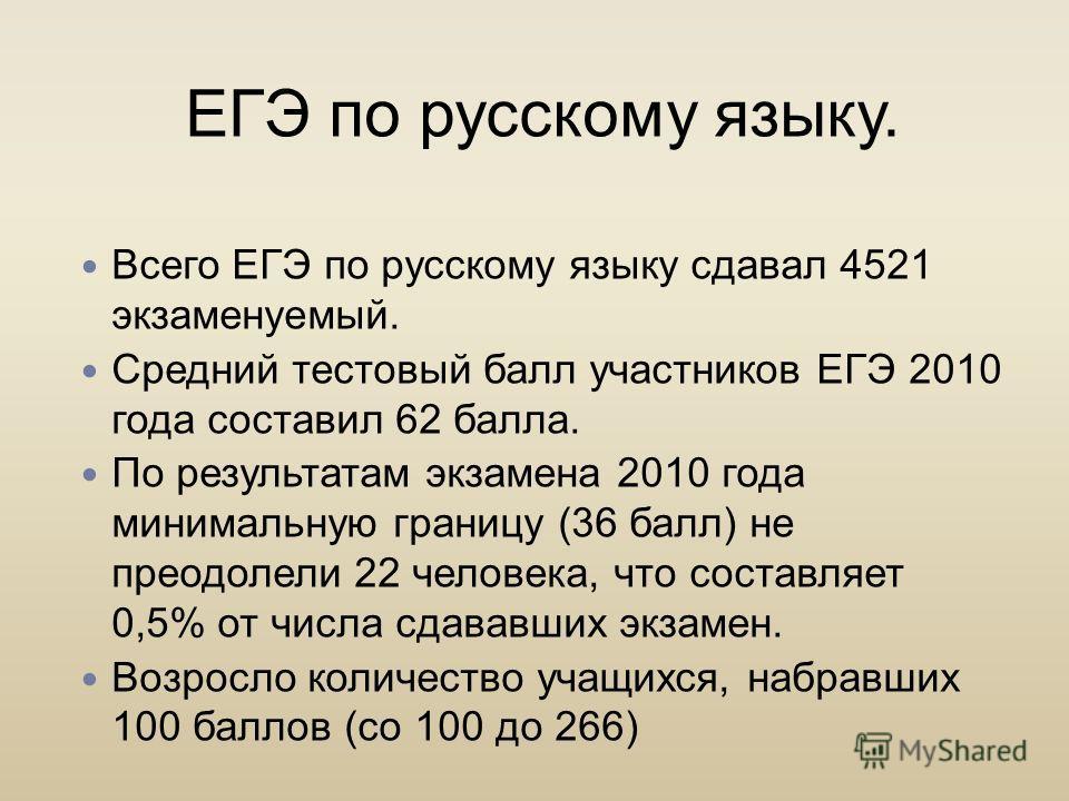 ЕГЭ по русскому языку. Всего ЕГЭ по русскому языку сдавал 4521 экзаменуемый. Средний тестовый балл участников ЕГЭ 2010 года составил 62 балла. По результатам экзамена 2010 года минимальную границу (36 балл) не преодолели 22 человека, что составляет 0