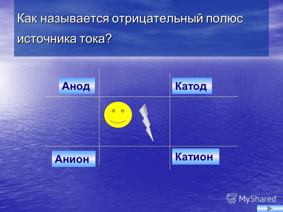 Анион КатодАнод Катион Как называется отрицательный полюс источника тока?