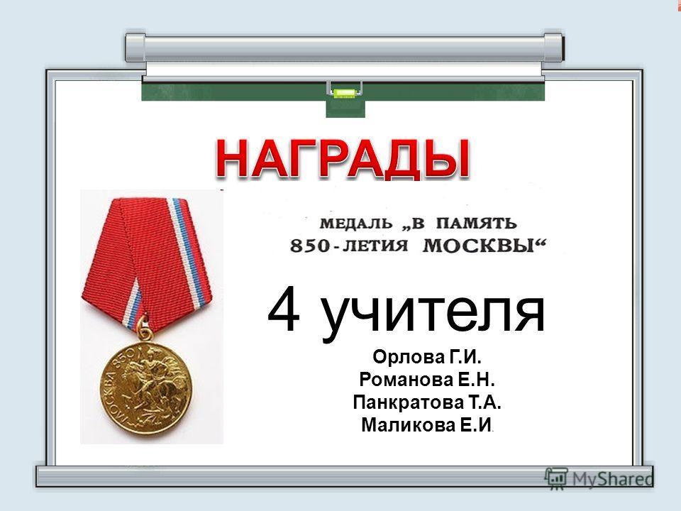 4 учителя Орлова Г.И. Романова Е.Н. Панкратова Т.А. Маликова Е.И.
