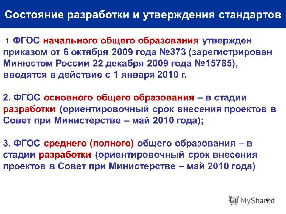 4 Состояние разработки и утверждения стандартов 1. ФГОС начального общего образования утвержден приказом от 6 октября 2009 года 373 (зарегистрирован Минюстом России 22 декабря 2009 года 15785), вводятся в действие с 1 января 2010 г. 2. ФГОС основного