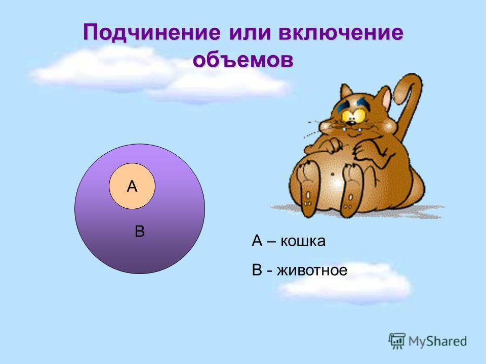 Подчинение или включение объемов В А А – кошка В - животное