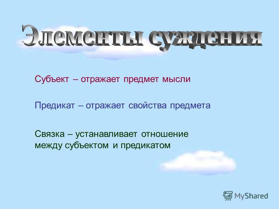 Субъект – отражает предмет мысли Предикат – отражает свойства предмета Связка – устанавливает отношение между субъектом и предикатом
