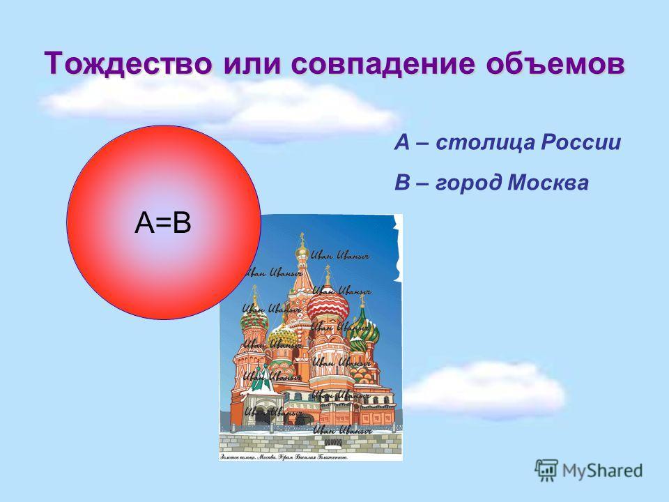 Тождество или совпадение объемов А=В А – столица России В – город Москва