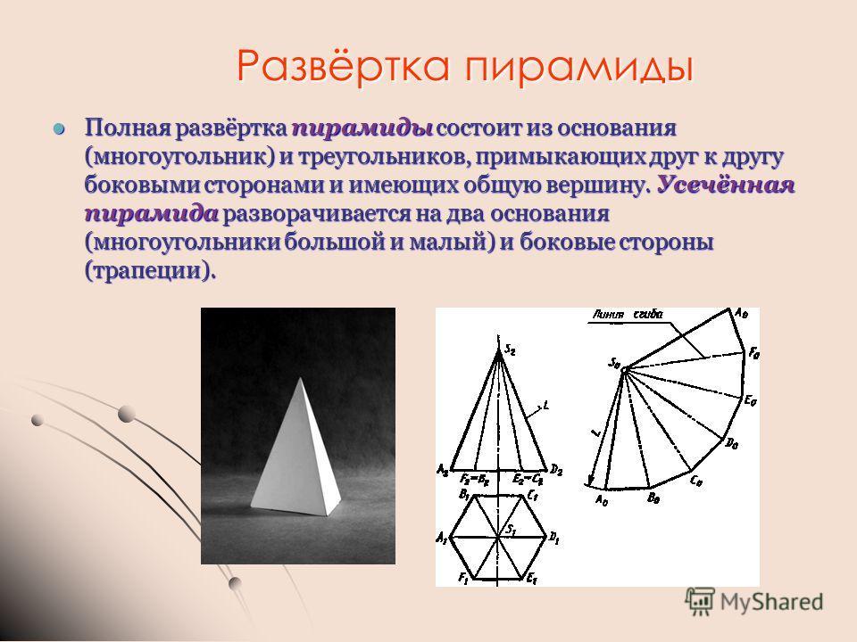 Развёртка пирамиды Полная развёртка пирамиды состоит из основания (многоугольник) и треугольников, примыкающих друг к другу боковыми сторонами и имеющих общую вершину. Усечённая пирамида разворачивается на два основания (многоугольники большой и малы