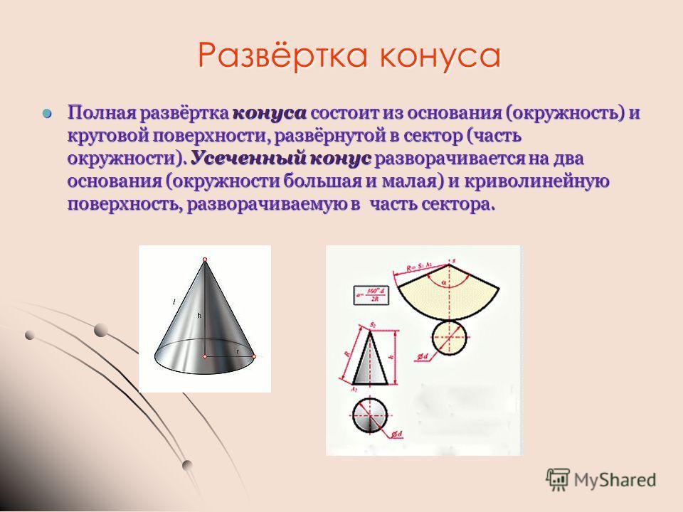Развёртка конуса Полная развёртка конуса состоит из основания (окружность) и круговой поверхности, развёрнутой в сектор (часть окружности). Усеченный конус разворачивается на два основания (окружности большая и малая) и криволинейную поверхность, раз