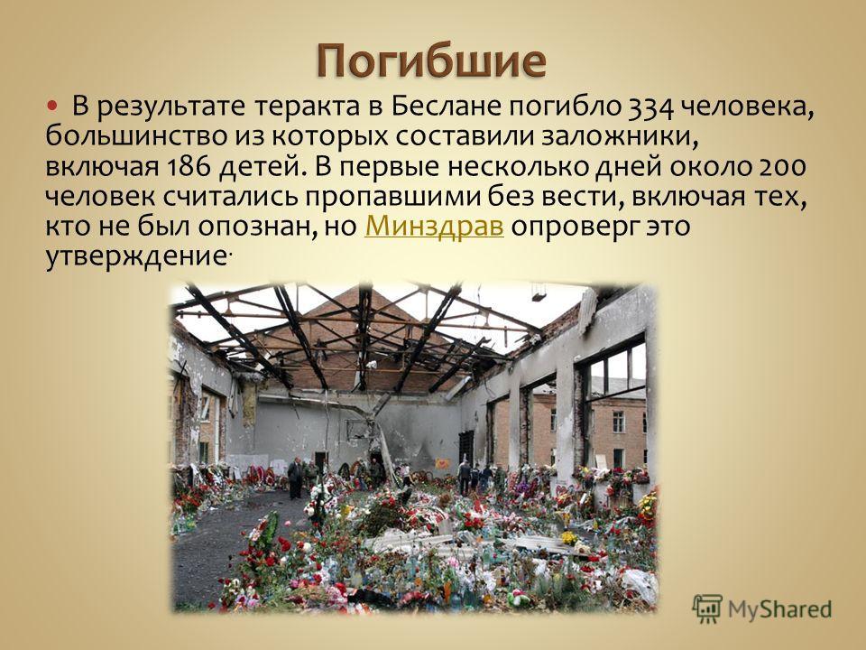 В результате теракта в Беслане погибло 334 человека, большинство из которых составили заложники, включая 186 детей. В первые несколько дней около 200 человек считались пропавшими без вести, включая тех, кто не был опознан, но Минздрав опроверг это ут