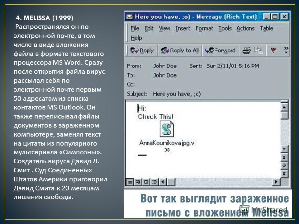 4. MELISSA (1999) Распространялся он по электронной почте, в том числе в виде вложения файла в формате текстового процессора MS Word. Сразу после открытия файла вирус рассылал себя по электронной почте первым 50 адресатам из списка контактов MS Outlo