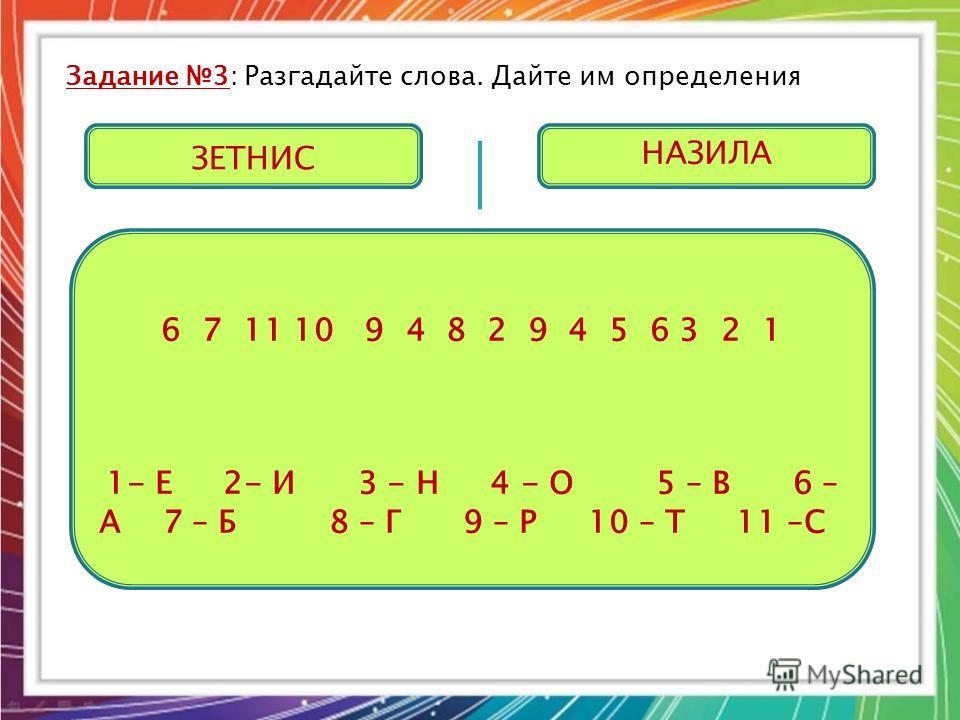 Задание 3: Разгадайте слова. Дайте им определения 6 7 11 10 9 4 8 2 9 4 5 6 3 2 1 1- Е 2- И 3 - Н 4 - О 5 – В 6 – А 7 – Б 8 – Г 9 – Р 10 – Т 11 –С ЗЕТНИС НАЗИЛА