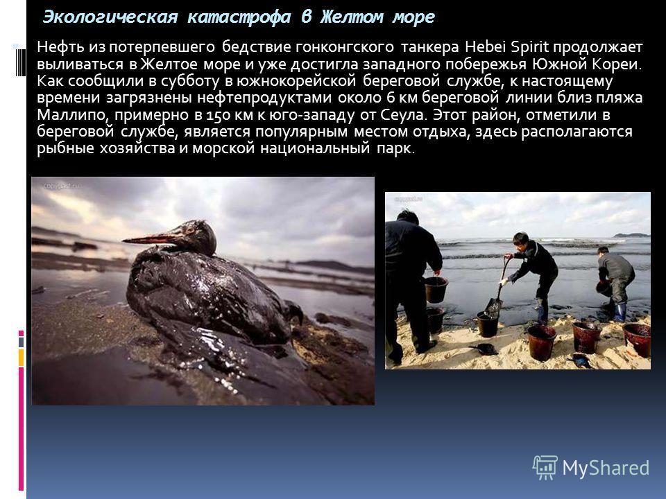 Экологическая катастрофа в Желтом море Нефть из потерпевшего бедствие гонконгского танкера Hebei Spirit продолжает выливаться в Желтое море и уже достигла западного побережья Южной Кореи. Как сообщили в субботу в южнокорейской береговой службе, к нас