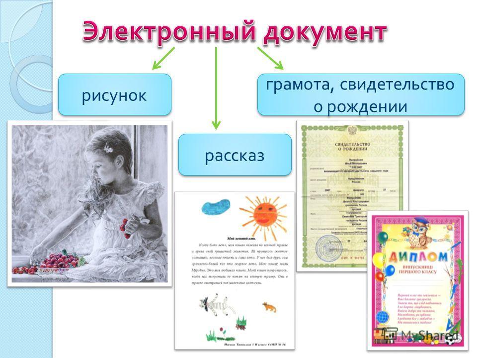 рисунок рассказ грамота, свидетельство о рождении