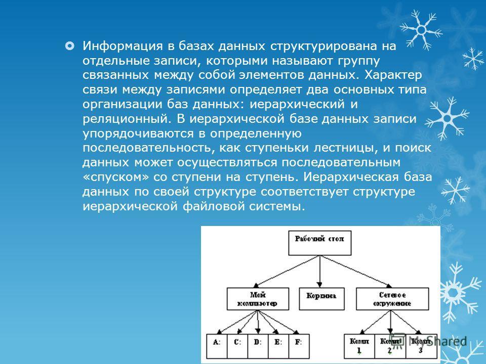 Информация в базах данных структурирована на отдельные записи, которыми называют группу связанных между собой элементов данных. Характер связи между записями определяет два основных типа организации баз данных: иерархический и реляционный. В иерархич