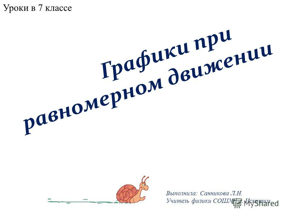 Графики при равномерном движении Выполнила: Санникова Л.Н. Учитель физики СОШ1 г. Искитим Уроки в 7 классе