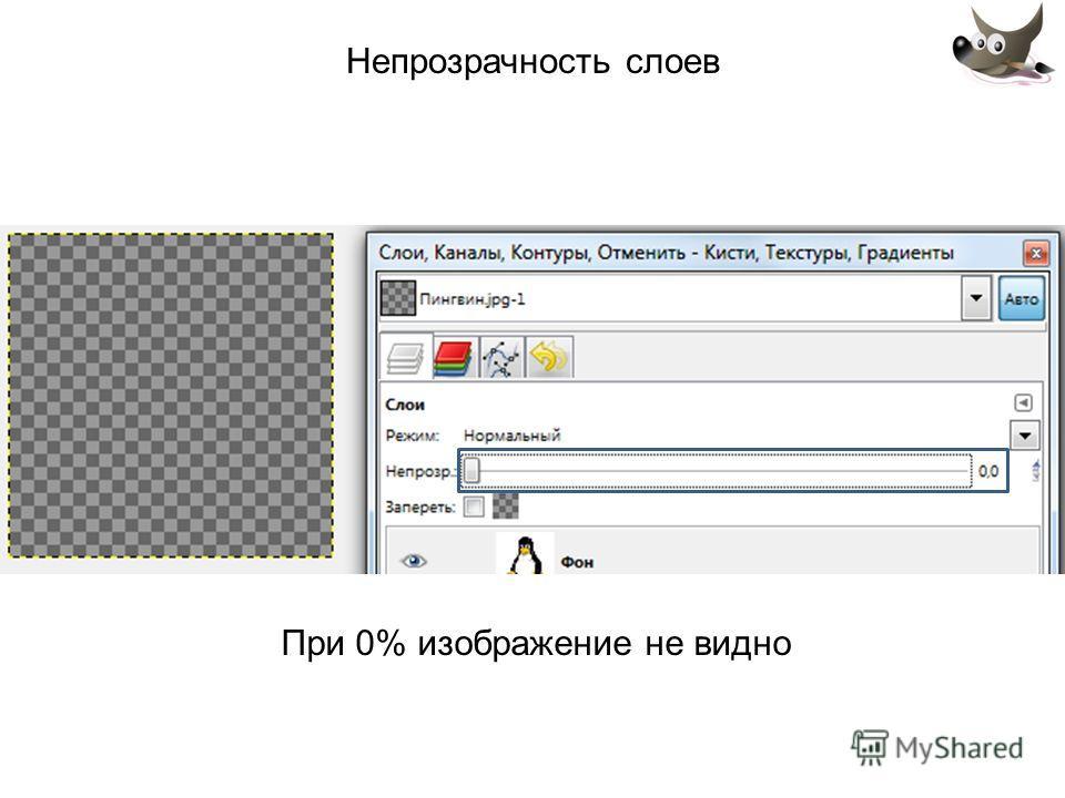 Непрозрачность слоев При 0% изображение не видно