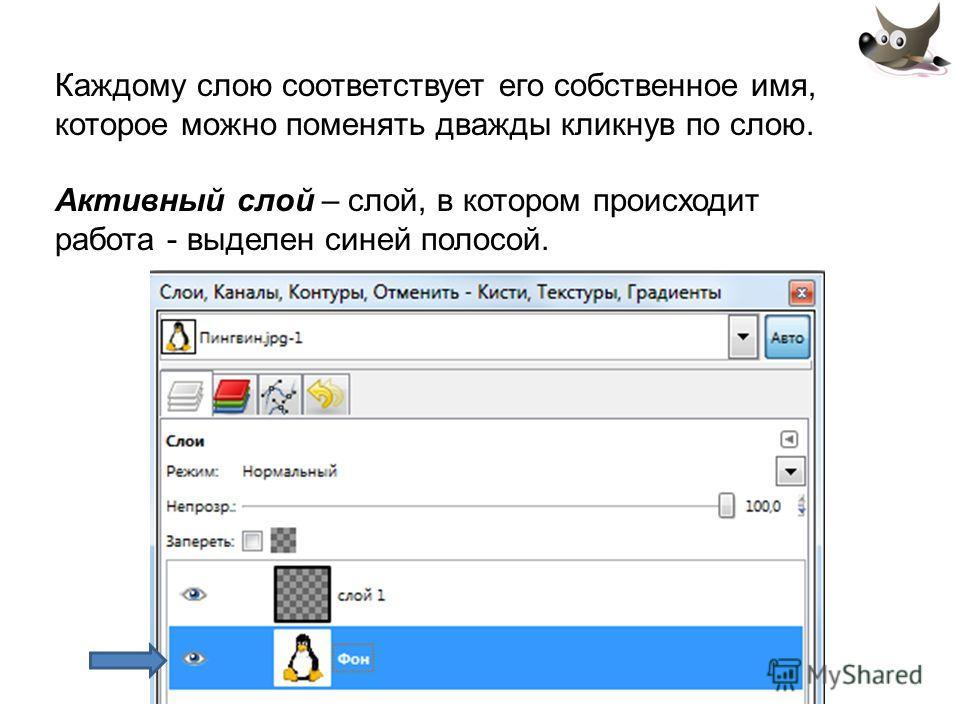 Каждому слою соответствует его собственное имя, которое можно поменять дважды кликнув по слою. Активный слой – слой, в котором происходит работа - выделен синей полосой.