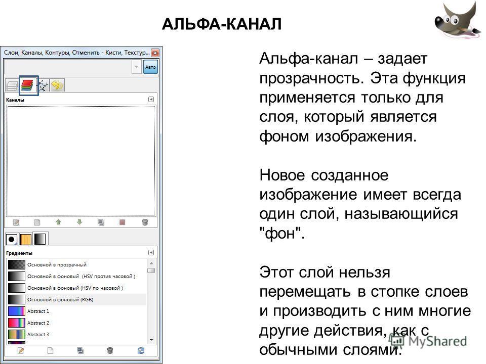 АЛЬФА-КАНАЛ Альфа-канал – задает прозрачность. Эта функция применяется только для слоя, который является фоном изображения. Новое созданное изображение имеет всегда один слой, называющийся