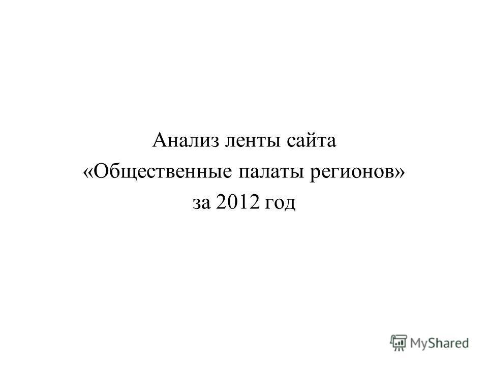 Анализ ленты сайта «Общественные палаты регионов» за 2012 год
