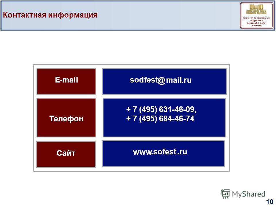 Контактная информация 10 E-mailsodfest @mail.ru Телефон Сайт + 7 (495) 631-46-09, + 7 (495) 684-46-74 www.sofest.ru