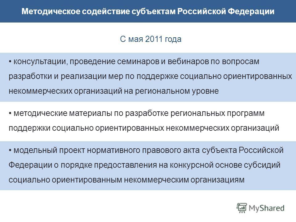 Методическое содействие субъектам Российской Федерации С мая 2011 года консультации, проведение семинаров и вебинаров по вопросам разработки и реализации мер по поддержке социально ориентированных некоммерческих организаций на региональном уровне мет