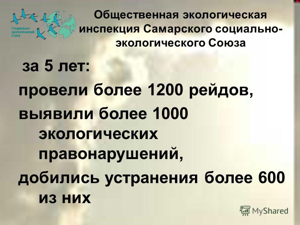 за 5 лет: провели более 1200 рейдов, выявили более 1000 экологических правонарушений, добились устранения более 600 из них Общественная экологическая инспекция Самарского социально- экологического Союза
