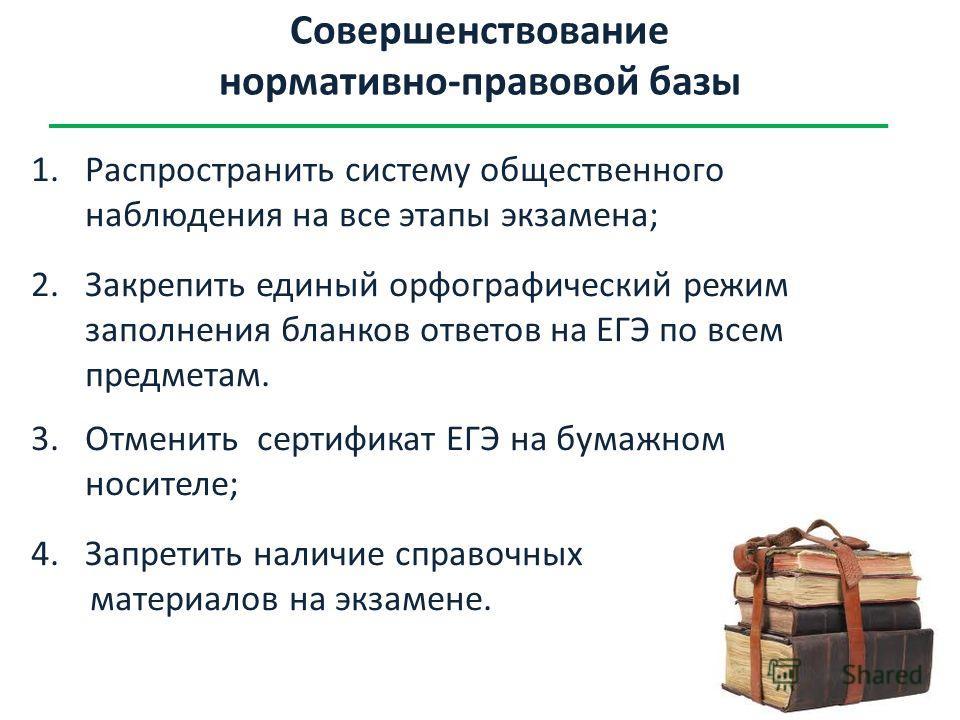 Совершенствование нормативно-правовой базы 1.Распространить систему общественного наблюдения на все этапы экзамена; 2.Закрепить единый орфографический режим заполнения бланков ответов на ЕГЭ по всем предметам. 3.Отменить сертификат ЕГЭ на бумажном но