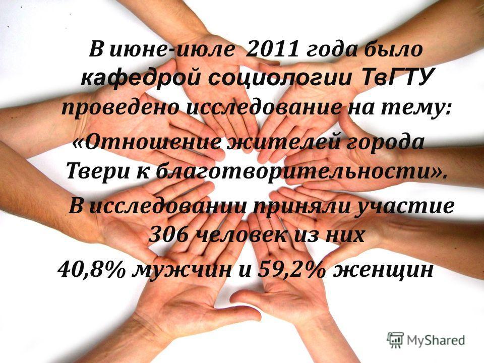 В июне-июле 2011 года было кафедрой социологии ТвГТУ проведено исследование на тему: «Отношение жителей города Твери к благотворительности». В исследовании приняли участие 306 человек из них 40,8% мужчин и 59,2% женщин