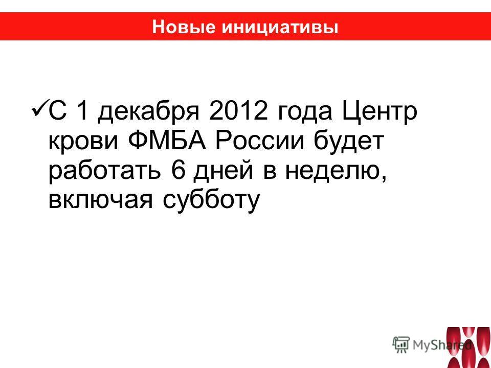 С 1 декабря 2012 года Центр крови ФМБА России будет работать 6 дней в неделю, включая субботу Новые инициативы
