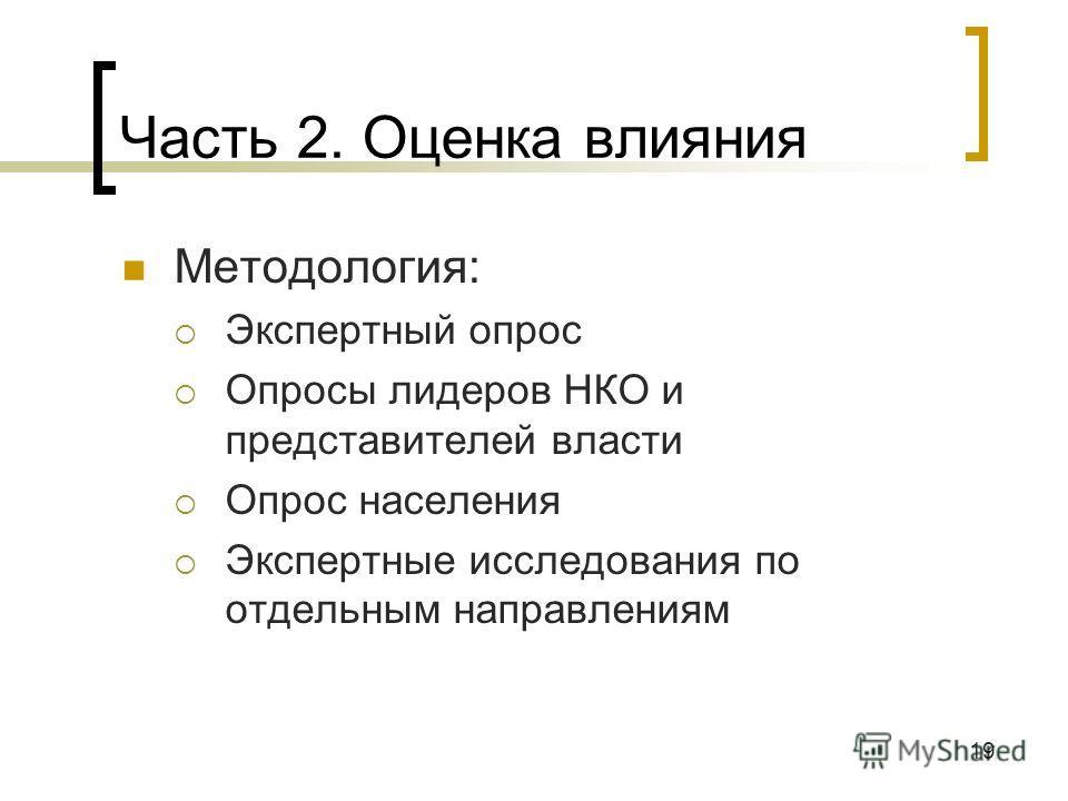 19 Часть 2. Оценка влияния Методология: Экспертный опрос Опросы лидеров НКО и представителей власти Опрос населения Экспертные исследования по отдельным направлениям