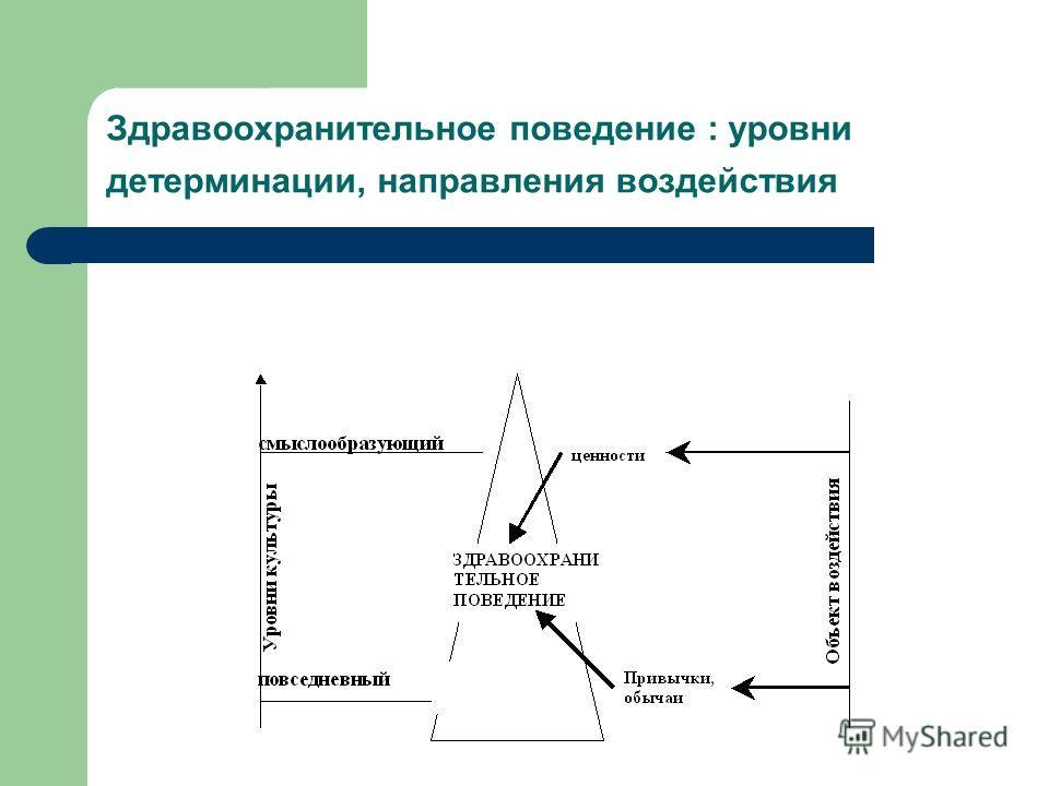Здравоохранительное поведение : уровни детерминации, направления воздействия