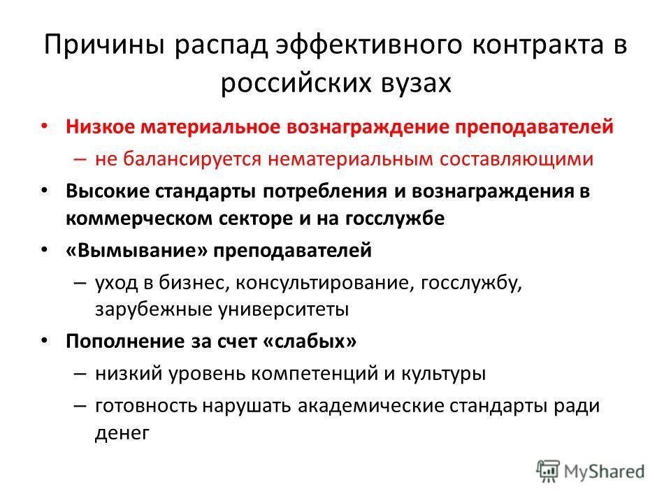 Причины распад эффективного контракта в российских вузах Низкое материальное вознаграждение преподавателей – не балансируется нематериальным составляющими Высокие стандарты потребления и вознаграждения в коммерческом секторе и на госслужбе «Вымывание