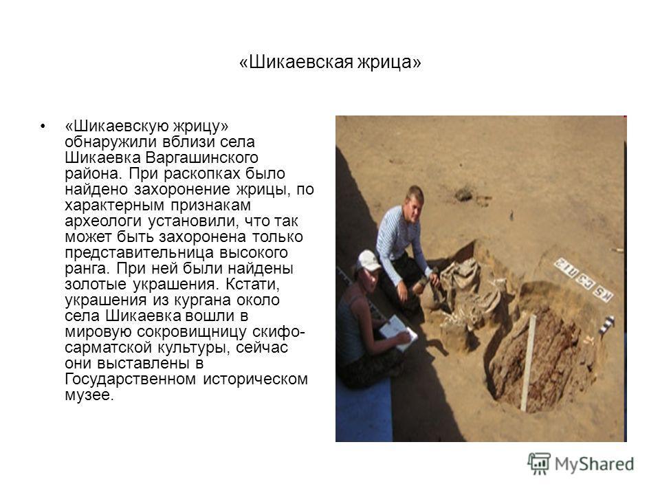 «Шикаевская жрица» «Шикаевскую жрицу» обнаружили вблизи села Шикаевка Варгашинского района. При раскопках было найдено захоронение жрицы, по характерным признакам археологи установили, что так может быть захоронена только представительница высокого р