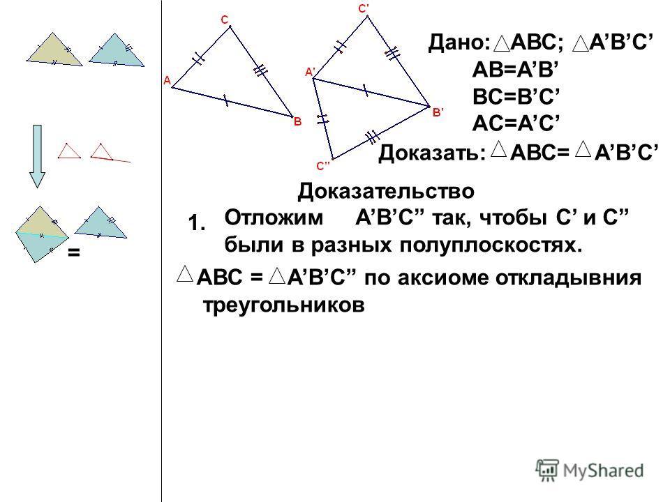Дано: АВС; ABC AB=AB BC=BC AC=AC Доказать:АВС= ABC Доказательство 1. Отложим ABC так, чтобы C и C были в разных полуплоскостях. = АВС = ABC по аксиоме откладывния треугольников