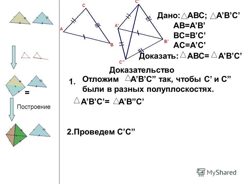 Дано: АВС; ABC AB=AB BC=BC AC=AC Доказать:АВС= ABC Доказательство 1. Построение 2.Проведем СC = АВС= ABC Отложим ABC так, чтобы C и C были в разных полуплоскостях.