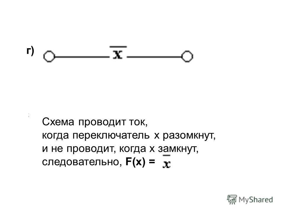 ; г) Схема проводит ток, когда переключатель х разомкнут, и не проводит, когда х замкнут, следовательно, F(x) =