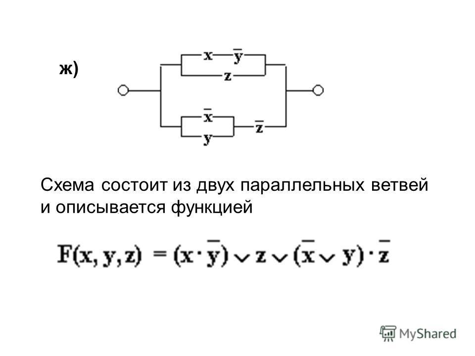. ж) Схема состоит из двух параллельных ветвей и описывается функцией