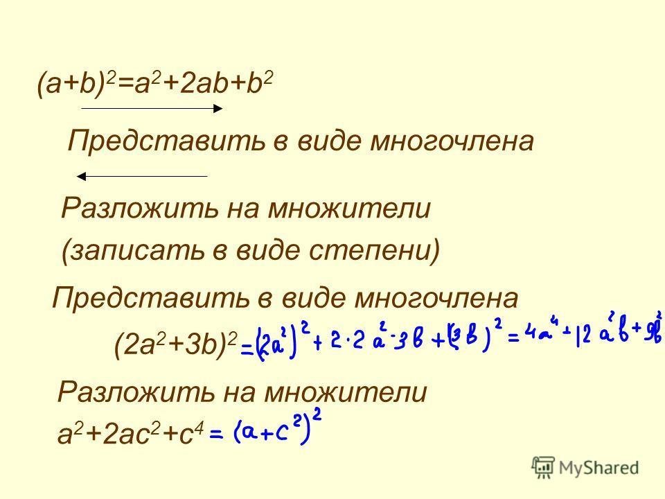 (a+b) 2 =a 2 +2ab+b 2 Представить в виде многочлена Разложить на множители (записать в виде степени) Представить в виде многочлена (2a 2 +3b) 2 Разложить на множители a 2 +2ac 2 +c 4