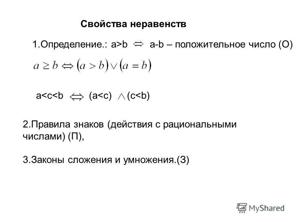 Свойства неравенств 1.Определение.: a>ba-b – положительное число (О) a