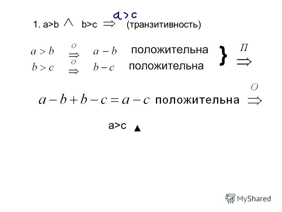 1. a>bb>cb>c (транзитивность) } a>ca>c