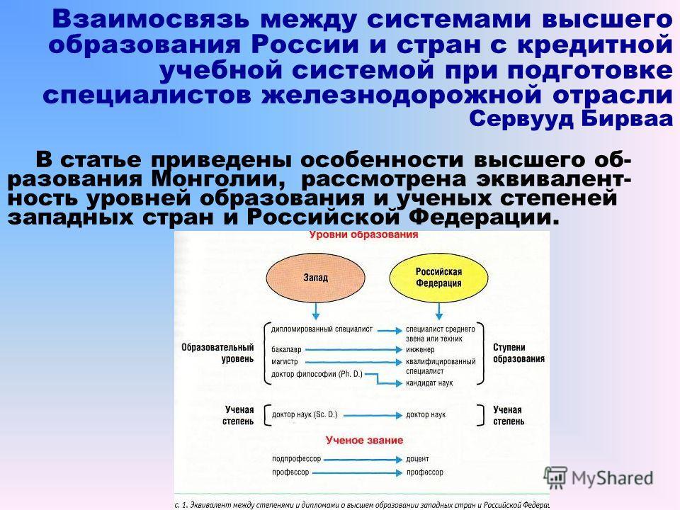 Взаимосвязь между системами высшего образования России и стран с кредитной учебной системой при подготовке специалистов железнодорожной отрасли Сервууд Бирваа В статье приведены особенности высшего об- разования Монголии, рассмотрена эквивалент- ност
