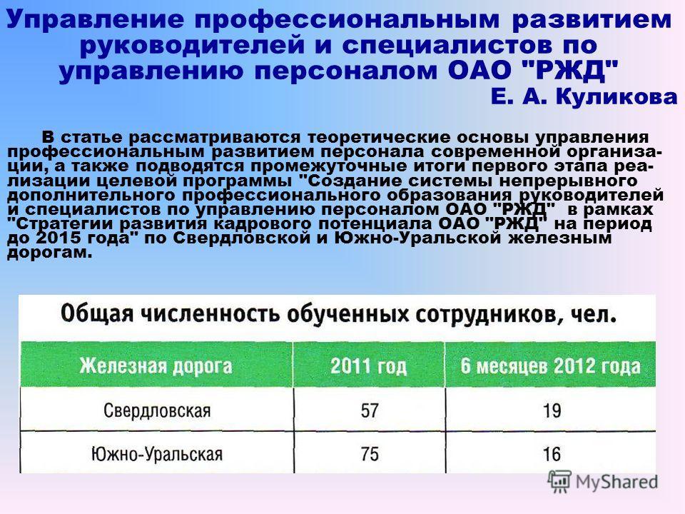 Управление профессиональным развитием руководителей и специалистов по управлению персоналом ОАО