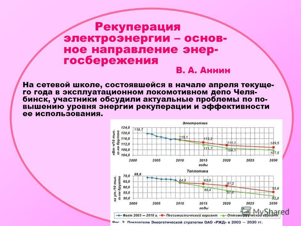 Рекуперация электроэнергии – основ- ное направление энер- госбережения В. А. Аннин На сетевой школе, состоявшейся в начале апреля текуще- го года в эксплуатационном локомотивном депо Челя- бинск, участники обсудили актуальные проблемы по по- вышению