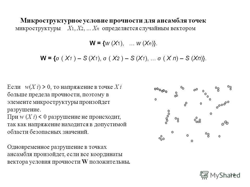 14 Микроструктурное условие прочности для ансамбля точек микроструктуры X 1, X 2,... X n определяется случайным вектором W = {w (X 1 ),... w (X n )}. W = { ( X 1 ) – S (X 1 ), ( X 2 ) – S (X 1 ),... ( X n) – S (Xn)}. Если w(X i) 0, то напряжение в то