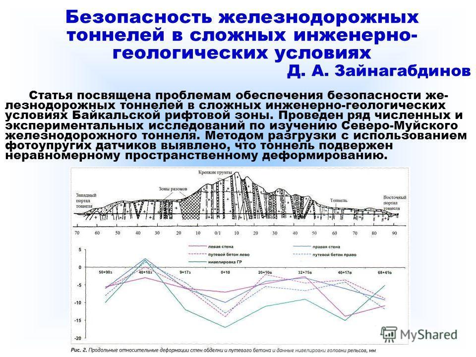 Безопасность железнодорожных тоннелей в сложных инженерно- геологических условиях Д. А. Зайнагабдинов Статья посвящена проблемам обеспечения безопасности же- лезнодорожных тоннелей в сложных инженерно-геологических условиях Байкальской рифтовой зоны.