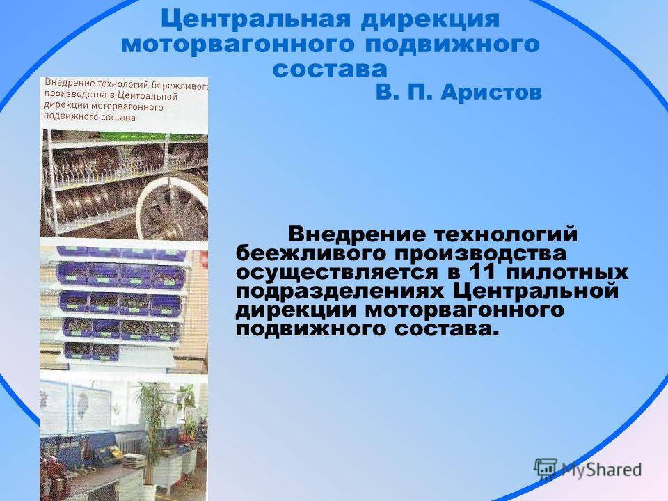 Центральная дирекция моторвагонного подвижного состава В. П. Аристов Внедрение технологий беежливого производства осуществляется в 11 пилотных подразделениях Центральной дирекции моторвагонного подвижного состава.