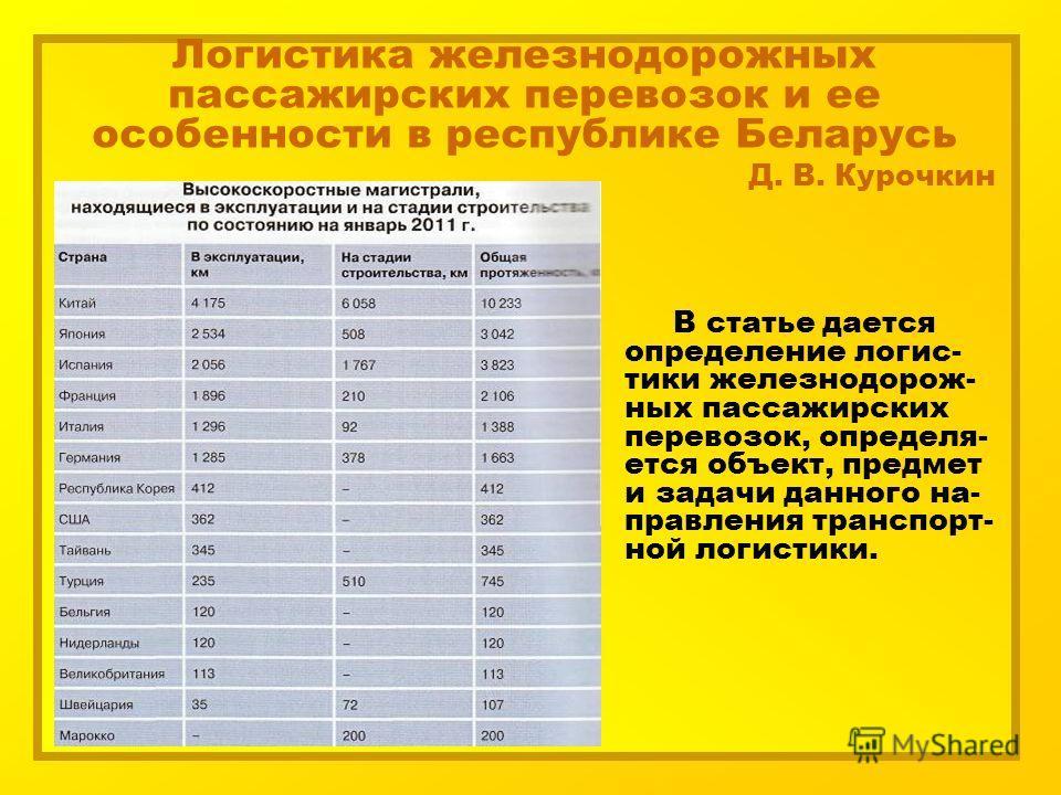 Логистика железнодорожных пассажирских перевозок и ее особенности в республике Беларусь Д. В. Курочкин В статье дается определение логис- тики железнодорож- ных пассажирских перевозок, определя- ется объект, предмет и задачи данного на- правления тра