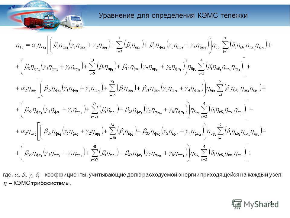 14 где, i, i, i, i – коэффициенты, учитывающие долю расходуемой энергии приходящейся на каждый узел; i – КЭМС трибосистемы. Уравнение для определения КЭМС тележки