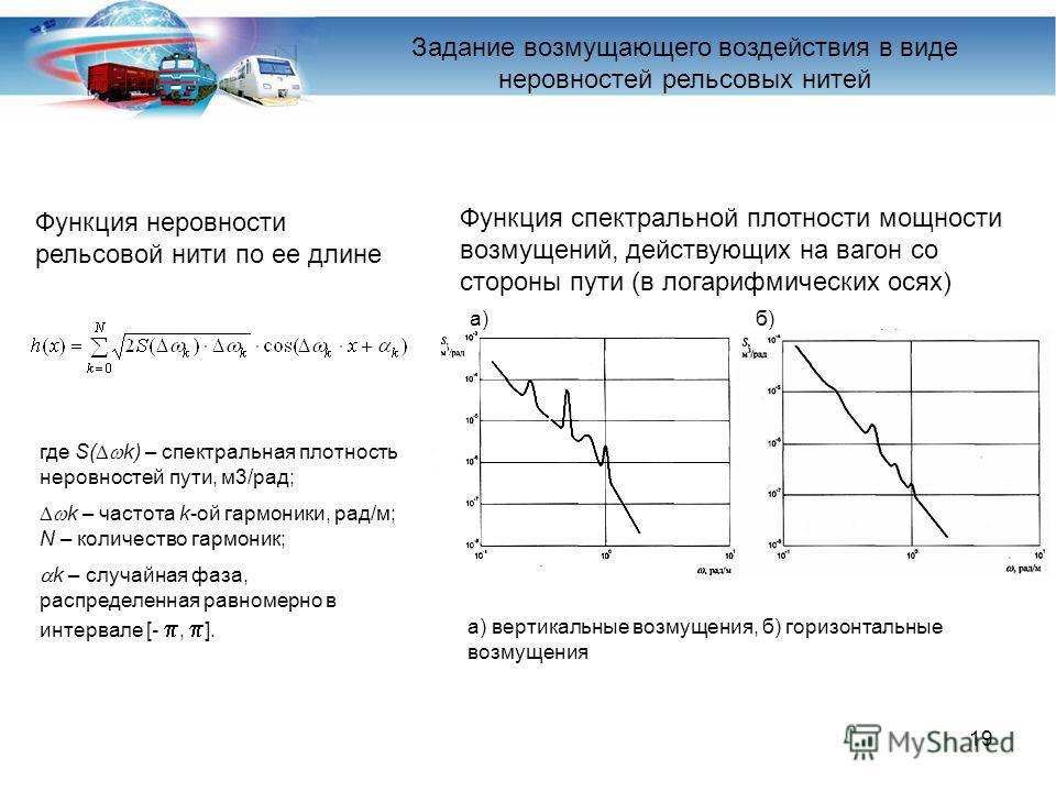 19 где S( k) – спектральная плотность неровностей пути, м3/рад; k – частота k-ой гармоники, рад/м; N – количество гармоник; k – случайная фаза, распределенная равномерно в интервале [-, ]. Функция неровности рельсовой нити по ее длине Задание возмуща